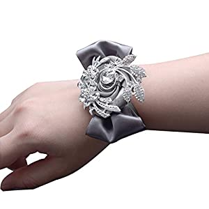 USIX Luxurious Crystal Rhinestone Brooch Wrist Corsage Hand Flower for Prom Wedding Party Bridal Accessories 87