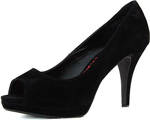 Womens Fahrenheit Deni-01 High Heel Peep Toe Pump Fashion Shoes Black Mej8t