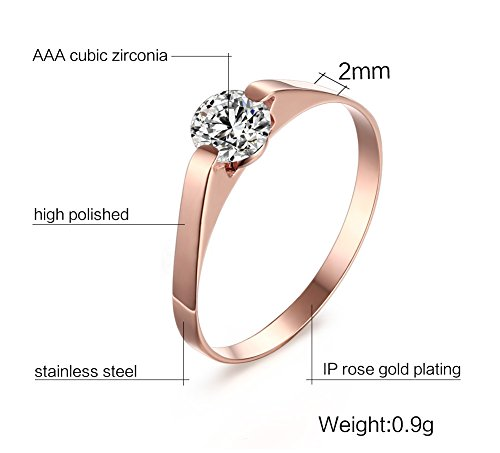 (Suohuan Jewelry Womens Rose Gold Plated Halo Cubic Zirconia Tension Set Solitaire Engagement Promise Wedding Ring Band Size 7)