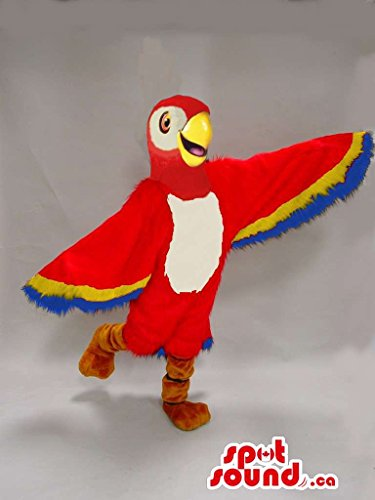 [Red And Blue Parrot Bird Plush Mascot SpotSound US With Large Wings] (Parrot Costume Wings)