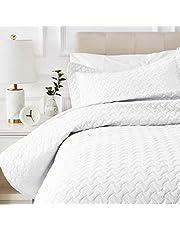 AmazonBasics Oversized Quilt Coverlet Bed Set - Twin, Cream Wave