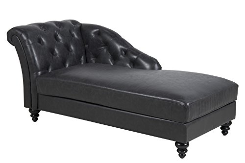 AC Design Furniture 60825 Chesterfield Chaiselongue Henning, circa 169 x 78 x 78 cm, Bezug lederlook, schwarz