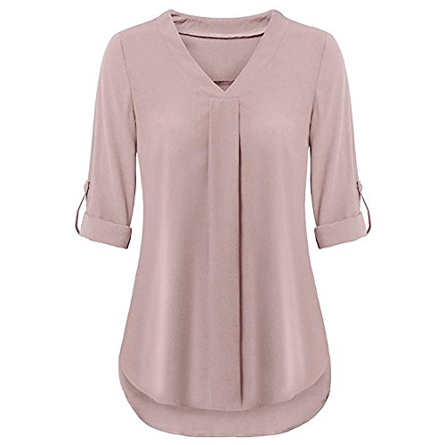 (OrchidAmor Womens Long Sleeve Roll-Up Top Casual V Neck Layered Shirt Blouses Summer T Shirts Spring Shirts Pink)