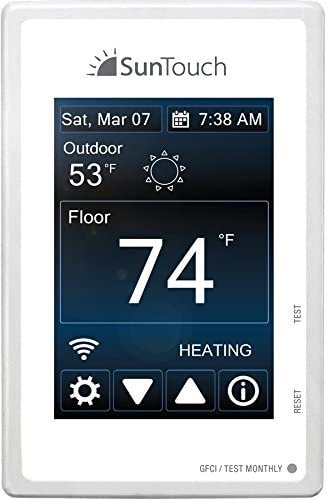 SunTouch 81019075 Connect WiFi-Enabled Universal Touchscreen Programmable Thermostat, (120/240V), Bright White, Model 500875