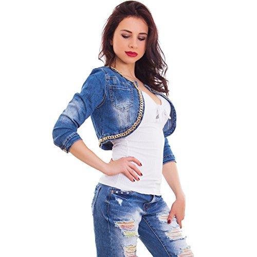 Giubbino Senza Giacca Bolero Chiusura Jeans Blu Nuovo Catena Corto H581 Donna Toocool x4Bp8gqw4C