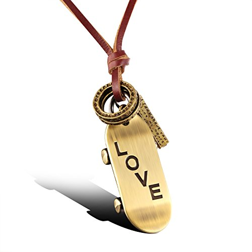 Fashion Jewellery Vintage Alloy Skateboard Long Brown Cowhide Leather Cord Pendant Necklace for Mens/Womens Adjustable