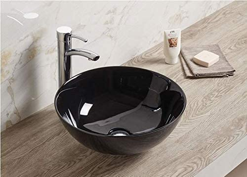 Lavabo de salle de bain Luxueuse Vasque /à Poser en C/éramique Lavabo noir Forme ronde 28 x 28 x 12 Cm