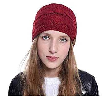 Womens Winter Ear Warmer Headband Soft Stretchy /& Thick Head Wrap Cable Knit Fleece Lined Ear Cover /& Headwrap Wine