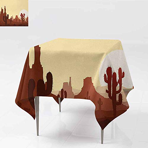 DILITECK Fabric Dust-Proof Table Cover Cactus Arid Country Landscape with Sunset in Stone Desert Saguaro and Mountains Table Decoration W50 xL50 Yellow Brown Redwood