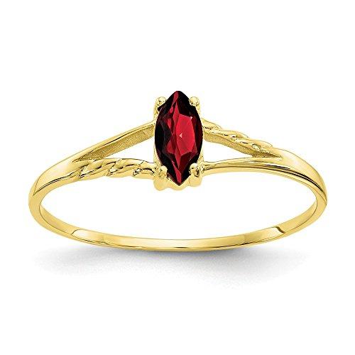 - Mia Diamonds 10k Yellow Gold Polished Genuine Garnet Birth Month Ring