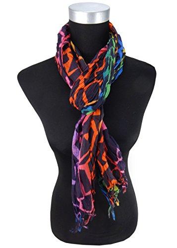 plissé écharpe orange rosé vert bleu à motifs avec franges - 180x50 cm