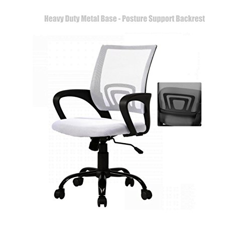 Modern Office Desk Task Chair Mid Back Design Breathable-Mesh-Fabric Comfortable Armrests Heavy Duty Metal Base Posture Support Backrest Executive Chair - White - Shopping Las Deals Vegas