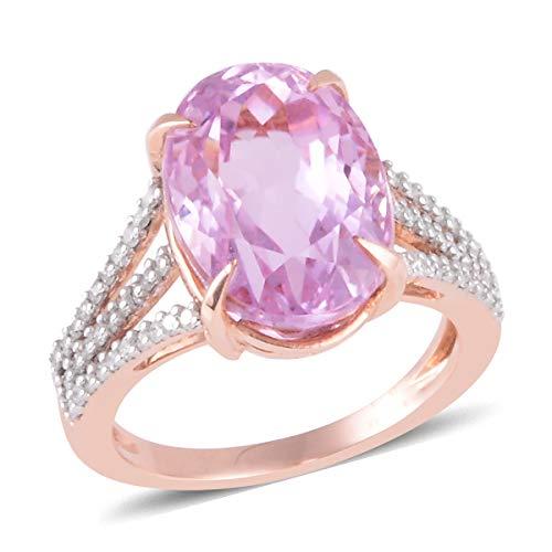Diamond Kunzite Ring - Kunzite Diamond Bridal Anniversary Ring 14K Rose Gold Jewelry for Women Size 10 Ct 5.8