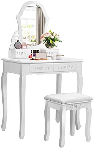 Giantex Vanity Set with Mirror and 4 Drawers for Girls Women, Princess Girls Makeup Dressing Table Bathroom Bedroom Furniture, Vanity Table with Cushioned Stool White