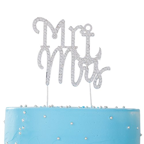 LOVENJOY with Gift Box Rhinestone Crystal Mr and Mrs Cake Topper Silver for Nautical Anchor Love Theme Wedding Engagement Anniversary Bridal Shower Bling Bling Decoration (3.8-inch)