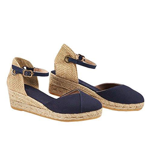 PiePieBuy Womens Espadrille Wedges Ankle Strap Closed Toe Heeled Sandals (10 B(M) US, 3-Navy) ()