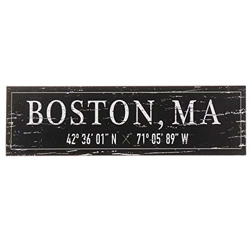 "Sign Distressed (Barnyard Designs Boston, MA City Sign Rustic Distressed Decorative Wood Wall Decor 17"" x 5"")"
