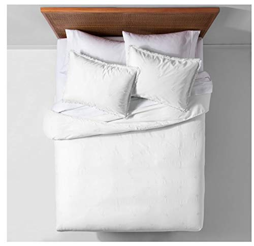 Opalhouse Garment Washed Embroidered Duvet Cover Set White - Twin/Twin Extra Long