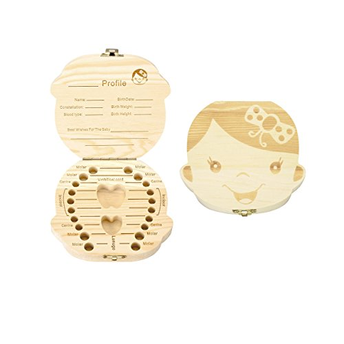 Mogoko Baby Teeth Keepsake Box Wooden Tooth Fairy Boxes, Child Kids Tooth Storage Holder Organizer(Girl, English; Customized Personalized Optional)