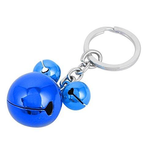 Blue Silver Tone Metal 3 Bells Dangling Flat Split Ring (Dangling Bell Ring)