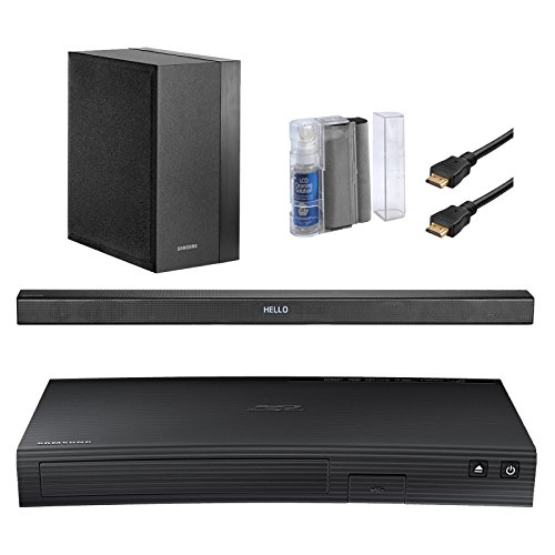 Samsung UN32J4500 32-Inch 720p 60Hz Smart LED TV Bundle With SBDJ5100 Curved Blu-ray CD DVD Player + 2.1 Channel 120W Wireless Soundbar Speaker + LCD Screen /Keyboard Cleaning Kit + 2x 6Ft HDMI Cables