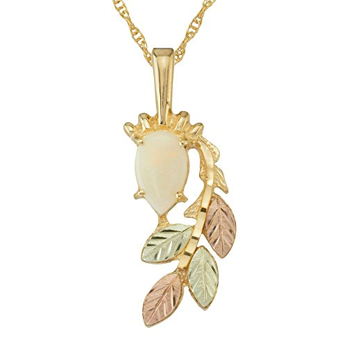 Black Hills Gold Pendant in 10k Gold with Opal Cabachon 8 X 5 mm Pear-Shaped