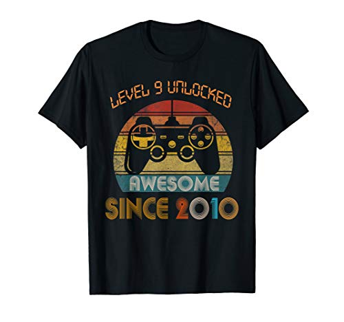 Level 9 Unlocked Awesome Since 2010-9th Birthday Gamer  T-Shirt ()
