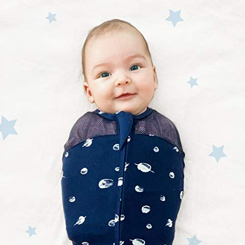 Happiest Baby Sleepea 5-Second Swaddle - 100% Organic Cotton Baby Swaddle Blanket - Doctor Designed Promotes Healthy Hip Development - Prevents Accidentally Scratching Face (Graphite Planets, Large)