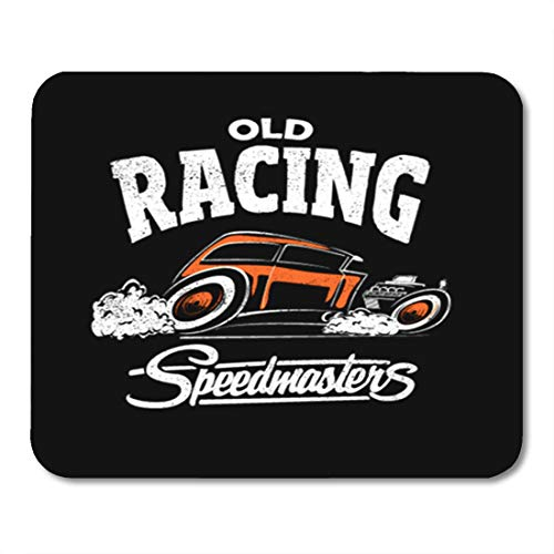 (Semtomn Gaming Mouse Pad Cars Hotrod Classic American Auto Black Collection Custom Drawing 9.5