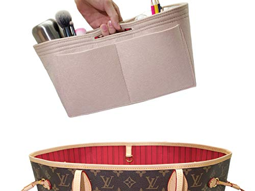 - LEXSION Felt Handbag Insert Organizer Bag In Bag with Two Removeable Holder 8020 Beige XL