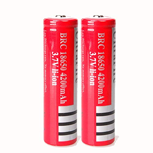2 Pcs 3.7V 4200mAh AA Li-ion Battery Rechargeable Batteries Button Top for LED Torch Flashlight Headlamp
