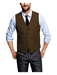 Men's Suit Leisure Slim Fit Herringbone V Neck Male Gentleman Business Waistcoat for Groomsmen Vest