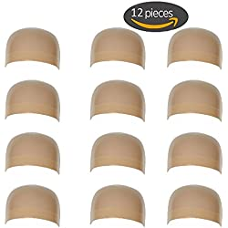 12 Pieces One Size Fits All Hair Net Skin Color Nylon Wig Caps for Women, Kids and Men by Meiyoo2 (Natural Nude Beige)