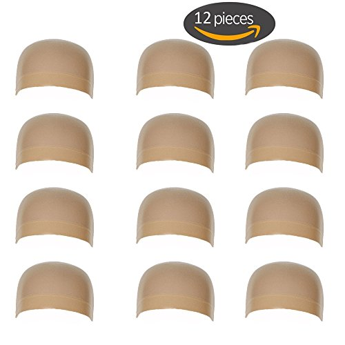 12 Pieces One Size Fits All Hair Net Skin Color Nylon Wig Caps for Women, Kids and Men by Meiyoo2 (Natural Nude Beige) by Meiyoo