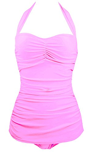 Spring Fever Women's Elegant Retro Vintage One Piece Pin Up Monokinis Swimsuit Pink XL (US:8-10)