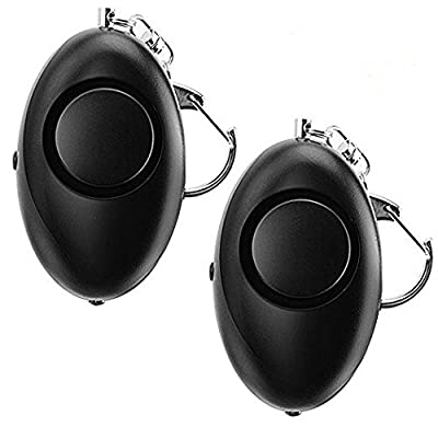 2 Pack ANRUI 120dB Personal Alarm Keychain for Elderly / Women / Kids with LED Flashlight Rip Cord Activation (Black)
