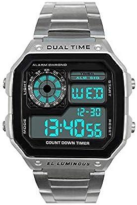 Moulin Men's Dual-Time Countdown Alarm Sport Chronograph Silver Metal Watch #03093-76190