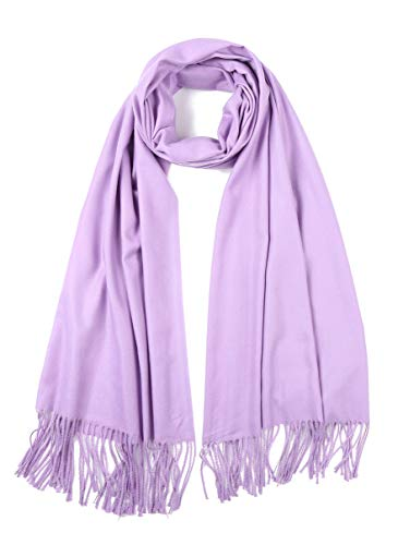Cindy & Wendy Large Soft Cashmere Feel Pashmina Solid Shawl Wrap Scarf for Women (Bright Lavender) ()