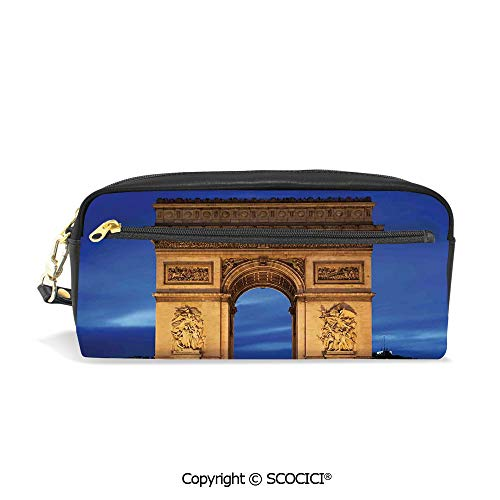 (PU Leather Student Pencil Bag Multi Function Pen Pouch Arc de Triomphe Paris France at Night View from Avenue des Champs Elysees Office Organizer Case Cosmetic Makeup)