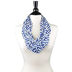 WRAP, WOMENS CLOTHING, INFINITY SCARF  The Pop Fashion Womens Greek Key Pattern Infinity Warp Scarf with Zipper Pocket is the perfect accessory for any fashionable woman on the go. This wrap scarf features 6 colors to match any outfit and will make ...
