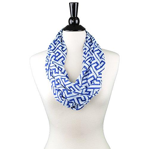 Women's Greek Key Pattern Infinity Scarf with Zipper Pocket - Blue - Pop Fashion (Greek Dress Pattern)