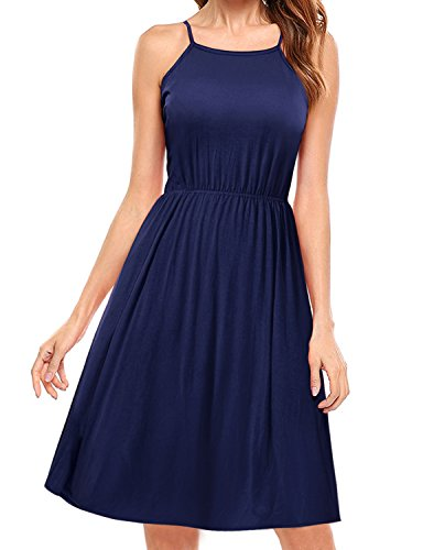Regna X BOHO for womens pleated comfort fit wide hem Sleeveless Midi Dress,Spaghetti Strap - Navy,large