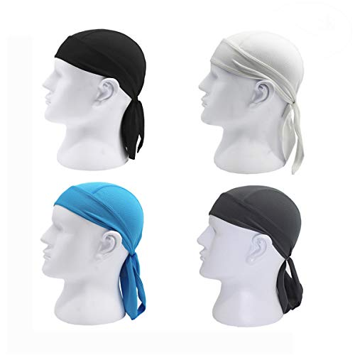 Outdoor Sport Cycling Running Dew Rag headwrap Cooling Skull Cap Hat, Absorptive Moisture-Wicking Dew Rag for Riding Skiing Motorcycling Trekking Mountain Climbing (4 Pack (Headwrap Du Rag)