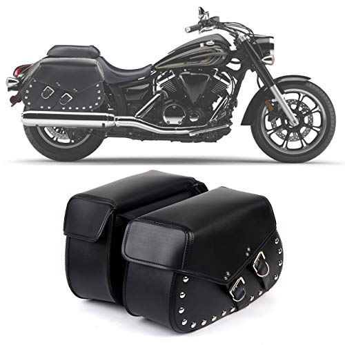 a82847e77e 2PC Heavy-duty Waterproof Motorcycle Saddlebags 2-Strap - Extra-Large PVC  Synthetic Leather Insulated Throw-Over Saddlebag Tool Bag