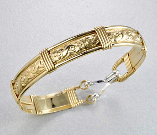 Handmade 14k Gold Filled Waves and Flowers Pattern Wire Wrapped Bracelet - Size 7 inches