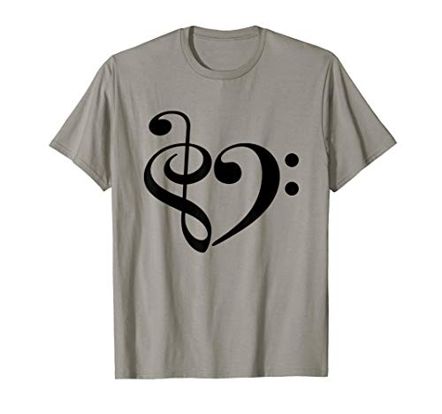 Treble Clef and Bass Clef Heart Music Lover Bassist T-Shirt