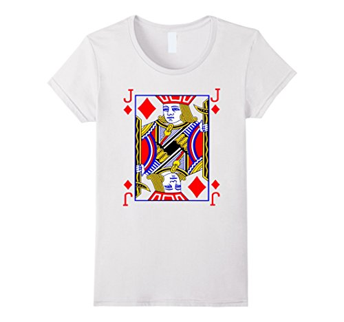 Women's Jack of Diamonds Playing Card Poker Costume Card Tee Shirt Small White (Playing Card Costumes)