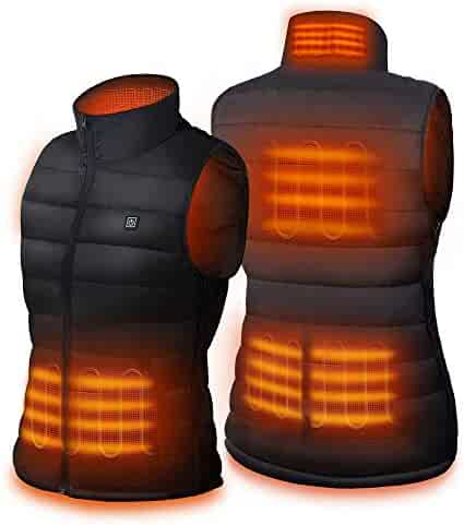 Dr. Prepare Unisex Heated Vest, Lightweight USB Rechargeable Electric Heated Jacket with 3 Heating Levels, 6 Heating Zones, and Adjustable Size for Skiing, Hiking, Black (Battery Pack Not Included)
