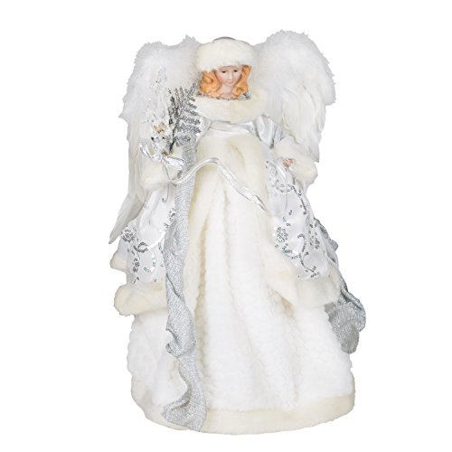 White Velvet Angel Feather Wings 16 Inch Holiday Tree ()