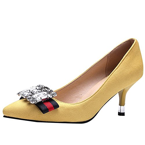 Mee Shoes Damen High Heels Nubukleder Strass Pumps